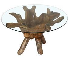 KMH® Wurzelholz Couchtisch Ø 90 cm Wohnzimmertisch Beistelltisch Tisch Teak Holz