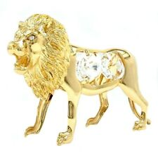 Decoration glass ornaments lion gold plated with stones 90x60mm