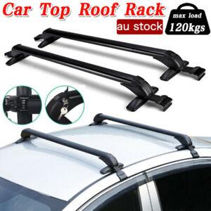"Universal Car Top Roof Rack Cross Bar 43.3"" Luggage Carrier Aluminum Black 120KG"