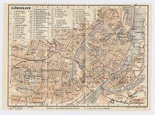 1914 ORIGINAL ANTIQUE 2 MAP SET OF COPENHAGEN DENMARK