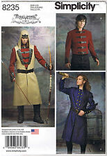 Men Coat Jacket Vest Hood Victorian Steampunk Cosplay Sewing Pattern 38 40 42 44