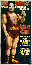 """Strongest Man On Earth Louis Cyr French Canadian Vintage Poster 12x6"""" Reprint"""