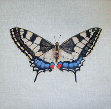 SWALLOWTAIL TEX EX ORIGINAL BRITISH BUTTERFLIES CUSHION PANEL LINEN BUTTERFLY