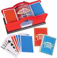 2-Deck Deluxe Manual Card Shuffler Hand Crank Includes 2 Free Playing Card Decks