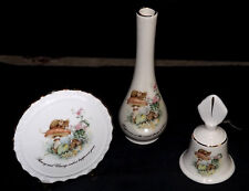 3 Crown Devon Bud Vase Posey Vase & Bell Happiness is the nicest thing to share