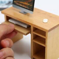 1/12 Dollhouse Miniaturschreibtisch mit Tastatur und Maus HolzspielzeugmöbelLXUI