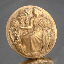 VintageFrench BronzeMedal Bas-Relief, Agriculture, Grapes, Signed H.M. Petit