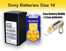 60 Sony Size 10 Hearing Aid Batteries + Free Keychain/2 Extra Batteries