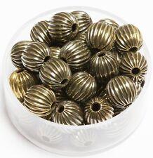 8 MM Vintage Brass Round Corrugated Hollow Beads Hole 1.8 MM Pkg. 50 p.  , USA