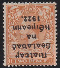 IRELAND, Scott #16c INVERTED OVPT: 2d (Die I), Mint, 1922 Thom Ovpt in Black Ink