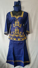 Women Clothing African Dashiki Skirt Suit Attire Boho Blue Free Size Print #9316