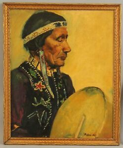 THELMA ADAMS HALL Western Native American Indian & Drum Portrait Oil Painting