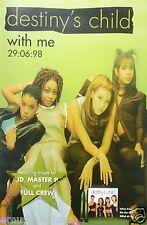 """Destiny'S Child """"With Me"""" U.K. Promo Poster - Beyonce, Kelly, LaTavia, LeToya"""