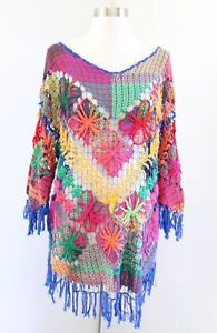 90s Handmade Rainbow Floral Crochet Knit Tunic Sweater Top Sz S M Retro Colorful