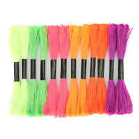 12Pcs Cross Stitch Embroidery Thread Fluorescence Braided Cord Sewing Crafts Kit