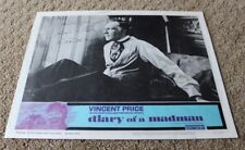 DIARY OF A MADMAN VINCENT PRICE HAND AUTOGRAPH  signed Lobby Card