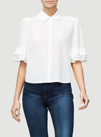 Frame $225 Ruffle Sleeve Button Up Silk Blouse in Blanc