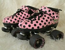 Riedell Dart Quad Roller Derby Speed Skates Pink Polka Dot Size 3 Youth