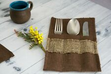 Table Cutlery Pocket 100% Linen Solid Brown, Handmade Rustic and Natural