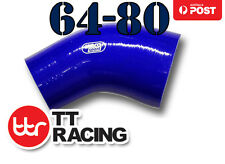 """(3-ply) 64mm - 80mm (2.5"""" - 3.15"""") Silicone 45 Degree Elbow Reducer Hose Pipe"""