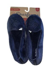 Dearfoams Women's Memory Foam Blue Velour Closed Peacoat Slipper M 7-8