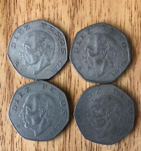10 Pesos Lot of (4) Mexican Coins 1977, 1978, 1979, 1981