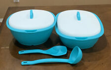 TUPPERWARE LEGACY SERVING SOUP AND RICE SERVERS SET-IN BLUE COLOR !!!!