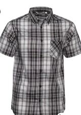 Kangaroo Poo Mens Yarn Dyed Checked Short Sleeve Shirt Black/Grey Size XXXL