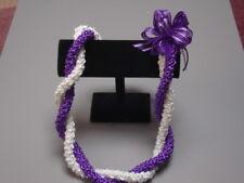 Hawaiian Rattail Ribbon Lei Graduation Purple White