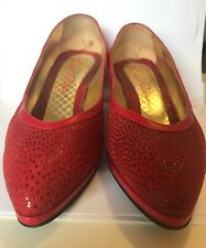 Vintage Emeli Rodin Heels Size 39 Leather Red Size 8