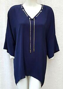 Neu - Damen Bluse - 46/48 / 48/50 - Tunika Shirt - V-Ausschnitt - Blusenshirt