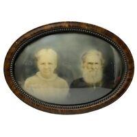 Antique Vintage Tigerwood Oval Frame Convex Bubble Glass Picture Portrait Art