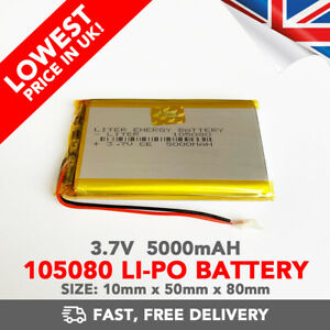 3.7V 5000mAh Li-Po Battery (105080) Rechargeable High Capacity Tablet PC+PCM6