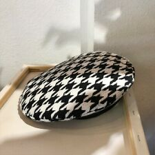 Women Beret Houndstooth Hat Artist Black White Check Plaid Painter Casual SHP
