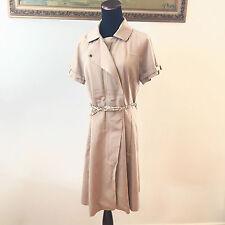 Banana Republic Khaki Short Belted Sleeves Tan Zip Trench Dress Women's Size 8 M