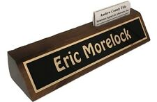 "Personalized Desk Name Plate 10"" Walnut  Holds Business Cards - Engraved Free"