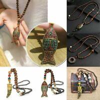 Necklace Bead Horn Handmade Jewelry Buddhist Ethnic Long Nepal Mala Pendant Fish