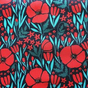 Vintage PolyCotton Fabric Navy Blue Red Poppy Floral Flower Craft Material