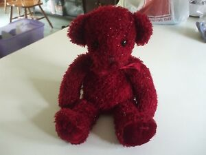 """13"""" Russ dark red teddy bear with sparkles and a red bow"""