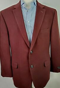 NEW Jos A Bank Men 48R Maroon Wool Silk Tailored Fit Duel Vent Sport Coat Blazer