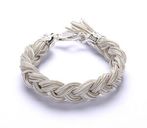 """925 Sterling Silver Ice Braided Foxtail Chain Bracelet """"Emanuele Bicocchi"""""""