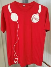 Coca Cola Open Happiness MP3 Music Player Headphones Red & White T Shirt Men's L