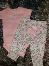 Baby Girls Infants 3 Month Two Piece Outfit Set Sweet Pink Bodysuit Floral Pants
