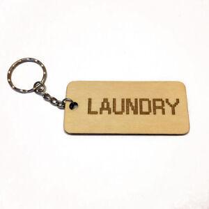 LAUNDRY Wooden Keyring Keychain Fob Laser Engraved Organise Your Keys