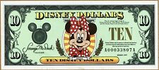 New Disney Dollars 1999 A $10 Ten Dollar Minnie Mouse Small World Uncirculated