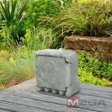 Außensteckdose 4-Fach Gartensteckdose 1,5 m Stein Dose Steinsteckdose Dunkelgrau