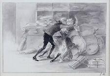 Louis MORIN (1855-1938) 3 dessins : l'arrivée au relais, la marquise en grisette