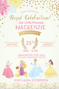 Personalised Disney Princess Birthday Party Invite Including Envelopes. D31
