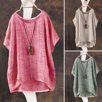 8-24 Women Summer Cotton Tee Shirt Top Plus Size Party Club Beach Blouse