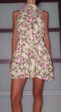 New Women's Large Carapace Unique Floral Print Open Back Sleeveless Woven Dress